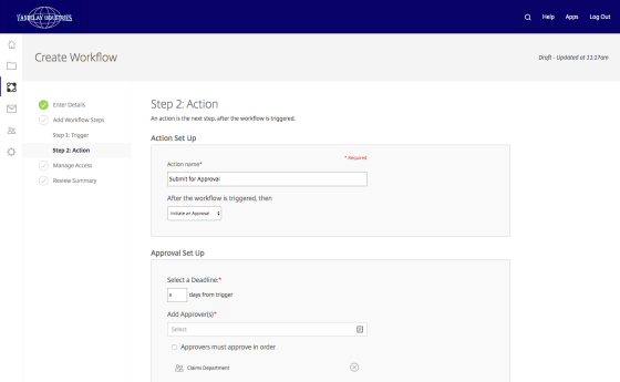 Create workflow - action 1