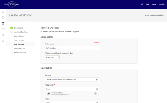 Create workflow - action 2